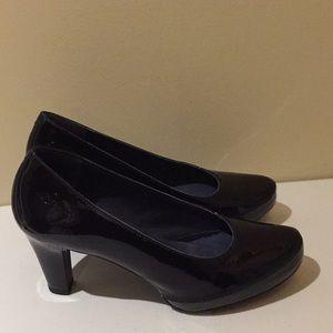 Dorking By Fluchos Black Patent Heels Pumps Sz 40
